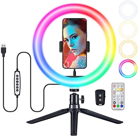 10'' Selfie Ring Light with Tripod Stand & Phone Holder,VicTsing 34 Modes Dimmable RGB Ring Light for iPhone Live Stream/Makeup/TikTok/Photography