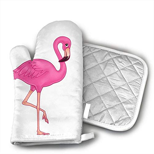 (Pink Flamingo Oven Mitts and Pot Holders Set with Polyester Cotton Non-Slip Grip, Heat Resistant, Oven Gloves for BBQ Cooking Baking, Grilling)