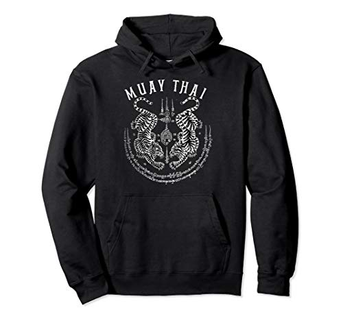 Muay Thai Gift Thai Boxing Tiger Vintage Tattoo Design Pullover Hoodie