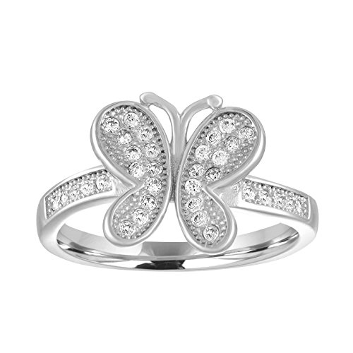 Sterling Silver CZ Butterfly Curved Statement Ring - (Butterfly Pave Ring)