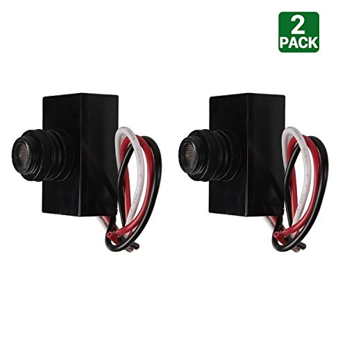 2 Pack Hykolity Outdoor Post Eye Light Photo Control,Thermal Type Photo Control, Dusk-To-Dawn Light Sensor Switch