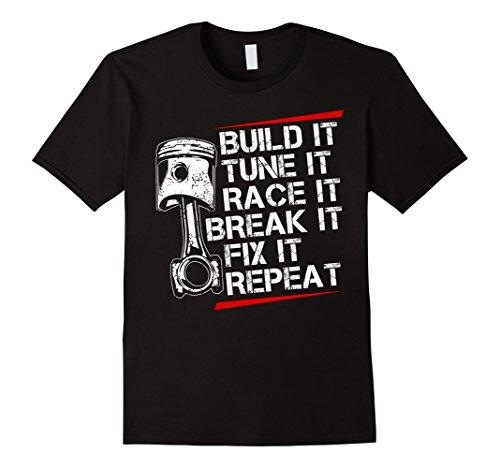 Mens Racecar Steps T Shirt Funny Fast Car XL Black