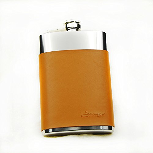 Savage 8oz Hip Flask in Removable Brown Leather Case 18/8 Stainless Steel by Savage