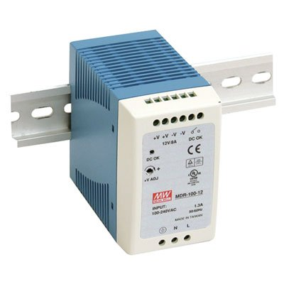 Mean Well MDR-100-12 AC to DC DIN-Rail Switching Power Supply, 12VDC, 7.5A, 90W, 3.9
