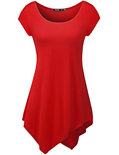 TWINTH Womens Short Sleeve Comfy Long Tunic With Various Cut-Out Unbalanced Tunic, Red, XL