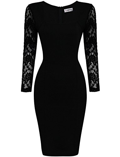 Tom's Ware Womens Stylish Lace Long Sleeve Bodycon