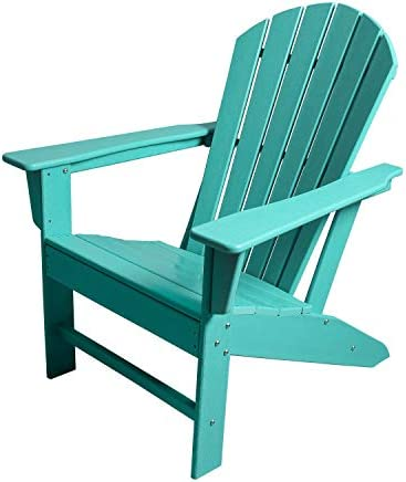 HM HOME HDPE Resin Wood Adirondack Chair, Weather Resistant for Patio Deck Garden Backyard Lawn Furniture Easy Maintenance Classic Adirondack Chair Design Green