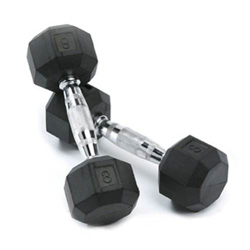 SPRI Deluxe Rubber Dumbbells (Sold as set of 2) (8-Pound)