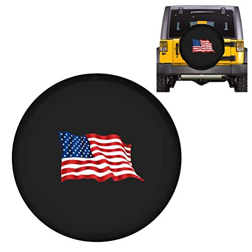ROCCS 15Inch Jeep Wrangler Spare Tire Cover, Black Wheel Tire Covers with American Flag Print for Cars Trailer Honda Toyota SUV Camper R15, 1PC(27