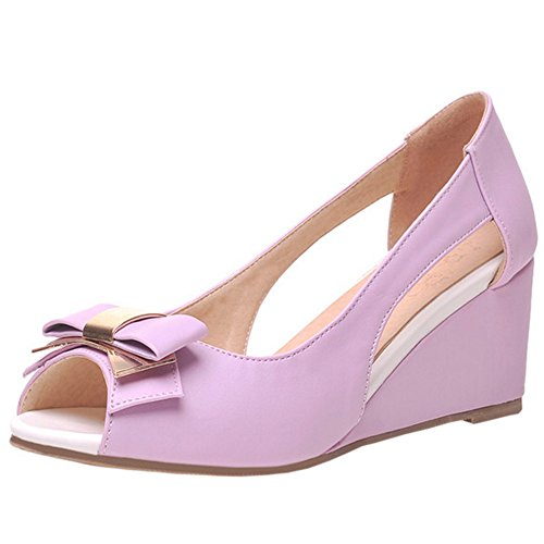 RizaBina Fashion Women Fashion RizaBina Peep Toe Pumps Shoes Wedge Summer Shoes With Bowknot Parent B072XHBVSH dd6d1d
