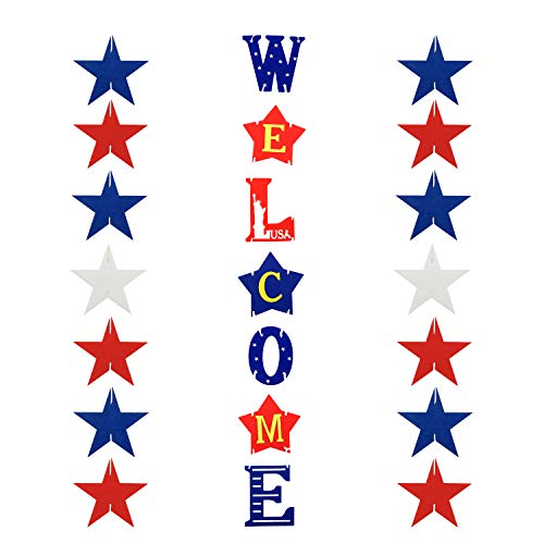 4th of July Decorations Front Door Welcome Sign - Memorial Day Decorations Independence Day Decorations Outdoor Hanging Letters Signs Patriotic Elements]()