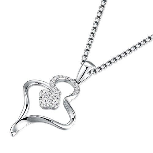 Or blanc 18ct 750avec diamant Pendentif cœur ouvert en argent sterling 925Chaîne de 40,6cm/40cm (0,23CT, G-H Couleur, Vs2-si1Clarté) Femme Bijoux Cadeau