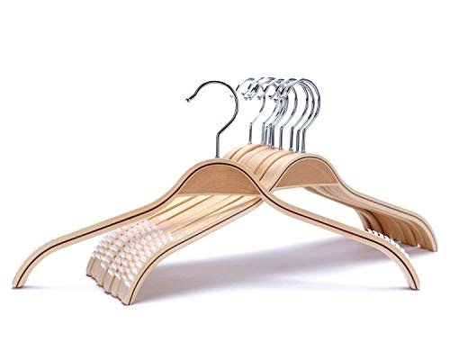 Natural Stripe Shirt - JS HANGER Durable Wooden Clothes Hangers Natural Finish with Soft Non-slip Stripes - 10 Pack