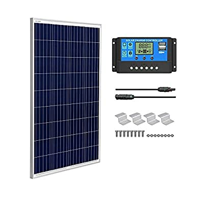 SUNGOLDPOWER 100 Watt 12V Polycrystalline Solar Panel Solar Module?1pcs 100W Polycrystalline Solar Panel Solar Cell Grade A +20A LCD PWM Charge Controller Solar+MC4 Extension Cables+Z-Brackets