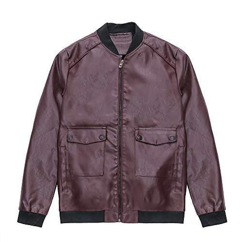 - Dressin_Coat Big Protion,Men's Jacket Symmetrical Zipper Pocket ,Stand Collar Imitation Leather Motorcycle Coat