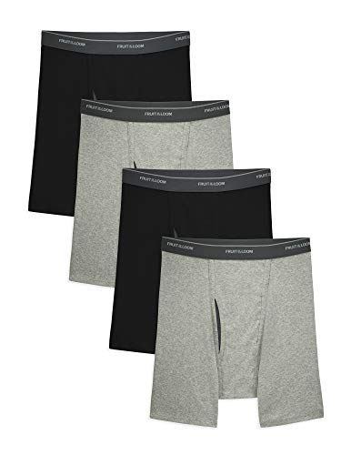 41Dvzaodf L - Fruit of the Loom Men's CoolZone Boxer Briefs, Black/Gray, Large