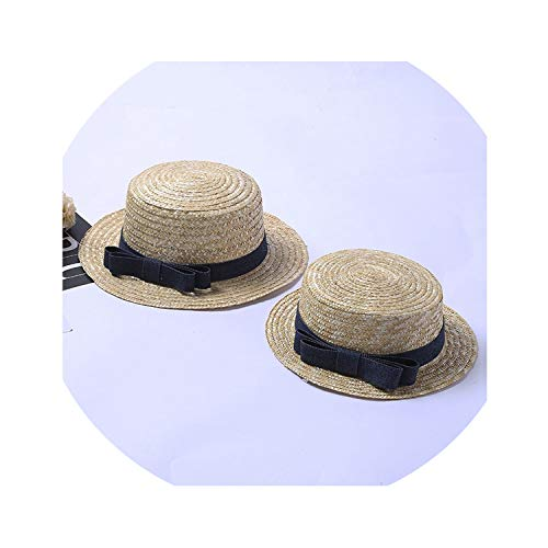 Sun Hats for Women Boater Hat Straw Hat Canotier Summer Beach Hat,with Black Band,Adult 56-59cm -