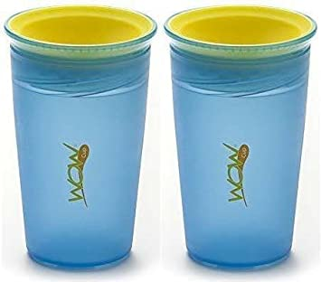 Translucent Wow Cup With Freshness Lid   9 Oz   Blue/Yellow   2 Count