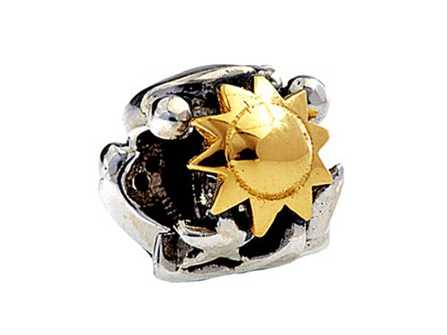Finejewelers SilveRado Sterling Silver/Gold Sun, Moon, Star Bead / Charm (Silverado Charm Bead)