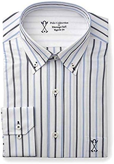 Camisa Manga Larga, con Rayas Verticales de Color Chocolate y Azul ...