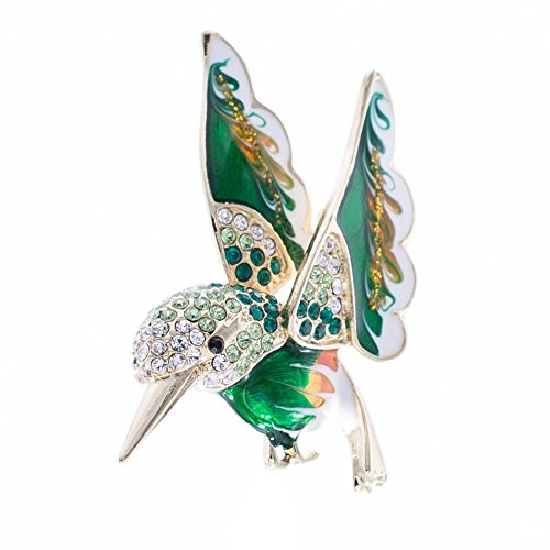 SEPBRIDALS Hummingbird Bird Dress Brooch Pin Broach Rhinestone Crystal Jewelry (Green)