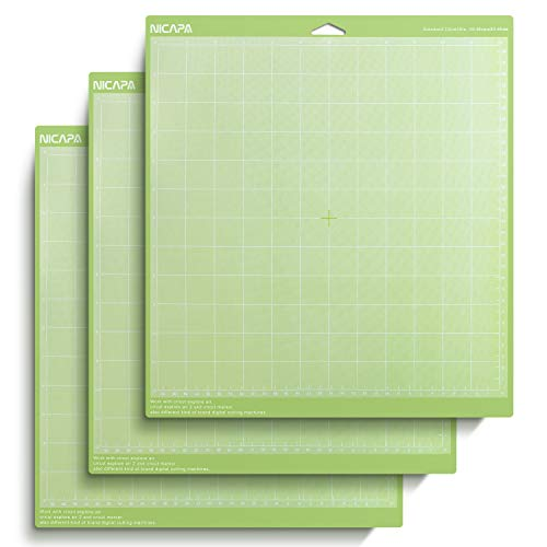 Nicapa Green Standard Adhesive Cutting Mat for Cricut, 12 by 12-Inch (3 Pack)