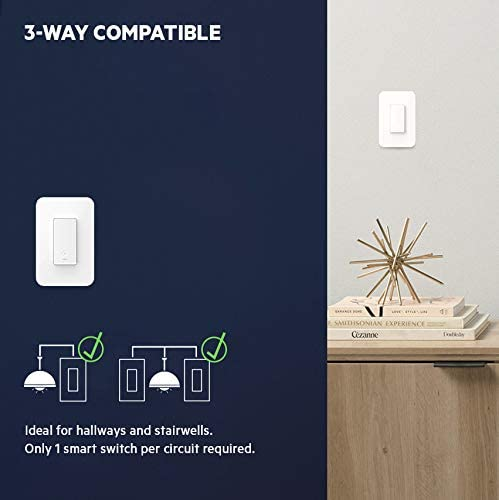 Wemo Wi-Fi Light Switch 3-Way 2-Pack Bundle – Control Lighting from Anywhere, Easy In-Wall Installation, Works with Alexa, Google Assistant and Apple HomeKit (WLS0403-BDL) 41Dw 2BUUfCgL