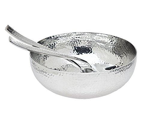 Godinger Hammered Salad Bowl & Servers, Silver