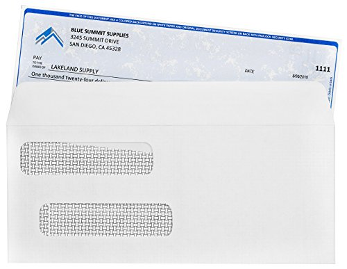 500 Self Seal Double Window Security Envelopes - Designed for QuickBooks Checks - Computer Printed Checks - 3 5/8 X 8 11/16 (NOT for INVOICES)