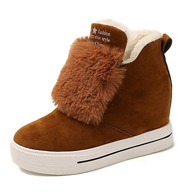 Round Fall Boots US6 UK4 Boots EU36 Wedge Heel Suede Mid Shoes Calf For CN36 Boots Toe RTRY Brown Black Fashion Casual Women'S BYwnqt
