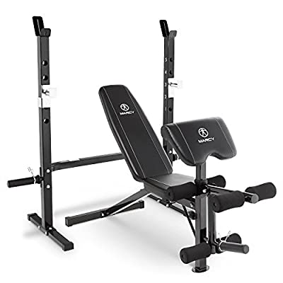 Marcy 2-Pc Olympic Weight Bench with bar Catches, Leg Developer & Preacher Curl Pad MWB-60205