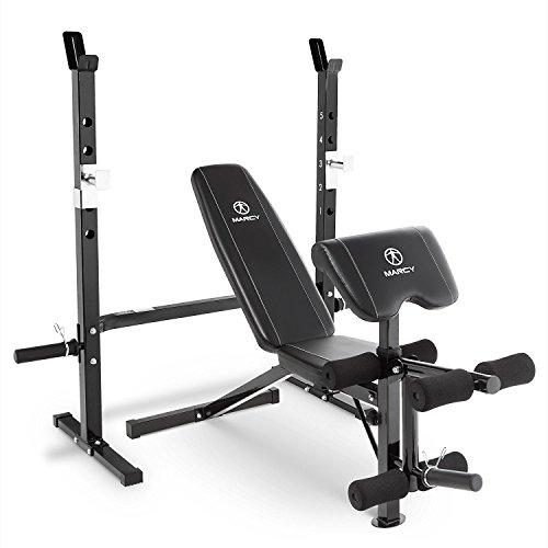 Marcy 2-Pc Olympic Weight Bench with bar Catches, Leg Developer & Preacher Curl Pad MWB-60205 (Marcy Weight Bench Set)