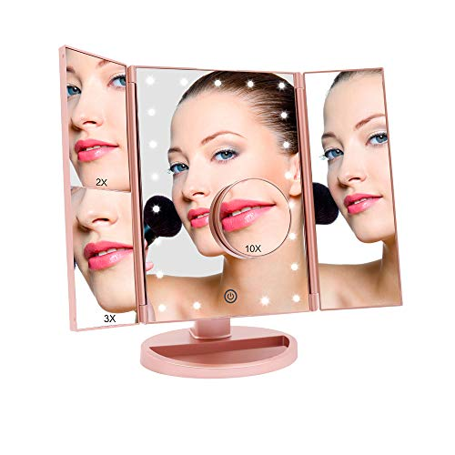 FASCINATE Lighted Makeup Mirror, Trifold Vanity Mirror with 21 LED Lights and 2X/3X/10X Magnification, Touch Screen Dimming, Dual Power Supply, 180° Rotation Light Up Mirror (Rose gold)