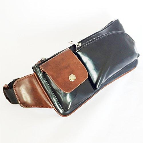 メンズレザーボディバッグ斜めがけワンショルダー(ブラック)