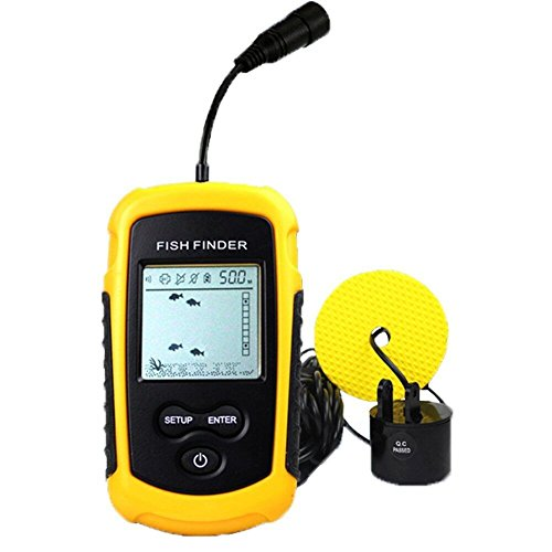 Portable Fish Finder, Fishfinder with Wired Sonar Sensor Transducer and LCD Display For Fishing By Pool,Rivers, Lakes, Seas And Oceans (Yellow)