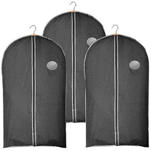 Clay:Roberts Travel and Storage Garment Bag, Black, Pack of 3, Suit, Shirt and Dress Cover, Shower Proof by Clay:Roberts