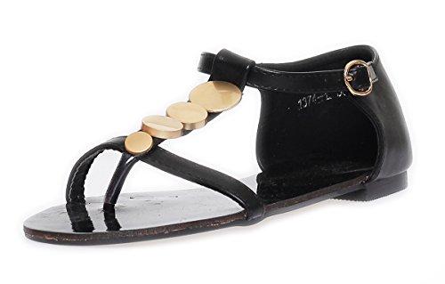 Damen Sandalen mit Metall-Applikationen Zehentrenner in 5 Farben Gr. 36 37 38 39 40 41 Schwarz
