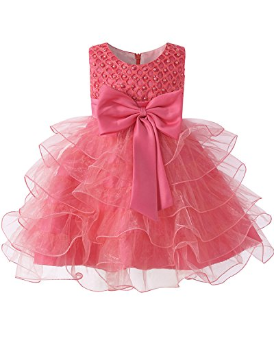 Kidsform Pearl Dress Girls Tulle Flower Tutu Bow Birthday Wedding Party Dresses for Kids Coral 18-24 Months