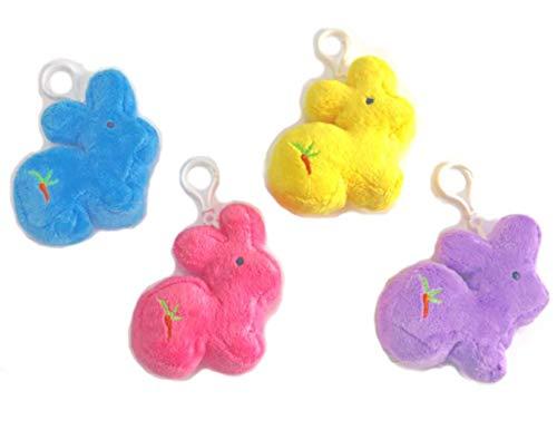 Easter Plush Bunny Clips Basket Stuffers - Set of 4