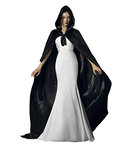 Black Halloween Grim Reaper Hood Cloak Witch Medieval Cape Robe Cosplay Costumes]()