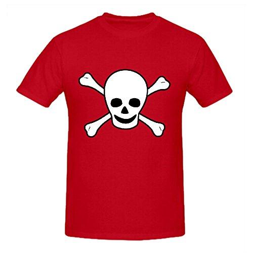 Existlong SKull Bones Men Printed T Shirts O Neck Red