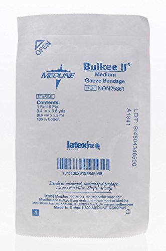 Medline NON25861 Bulkee II Non-Sterile Latex Free Cotton Gauze Stretched Bandage, 3.4