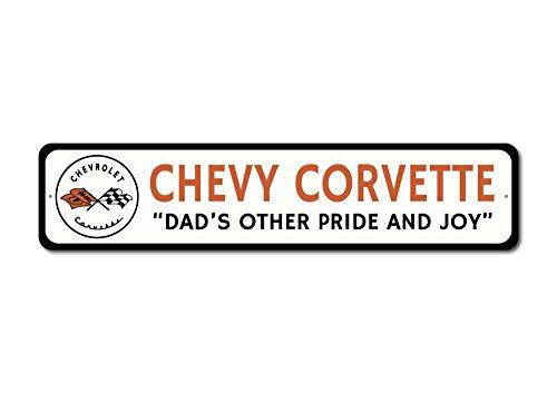 - The Lizton Sign Shop Dad's Chevy Sign, Chevy Corvette Sign, Corvette Flags Decor, Corvette Logo Sign, Car Lover Dad Gift - Quality Aluminum Sign - 4