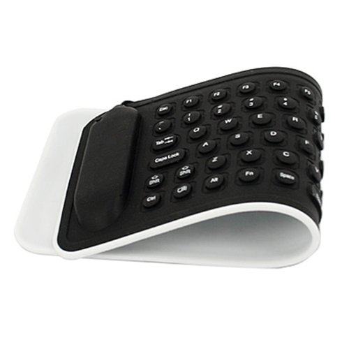 HDE Portable USB Mini Flexible Rollup Waterproof Silicone QWERTY Keyboard