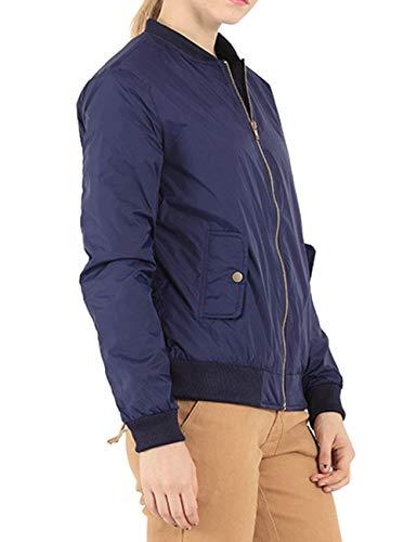 Blu Coat Casual Giacca Coreana Monocromo Collo Vintage Donna Bomber Primaverile Maniche Giacche Con Eleganti Cerniera Fashion Scuro Lunghe Plus Autunno Pilot Prodotto qRHxt