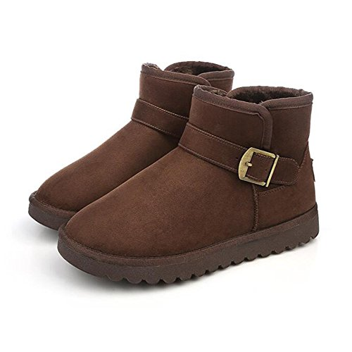 The winter snow boots warm low cashmere boots with thickened short tube black shoes,40 Brown by ZRLsly