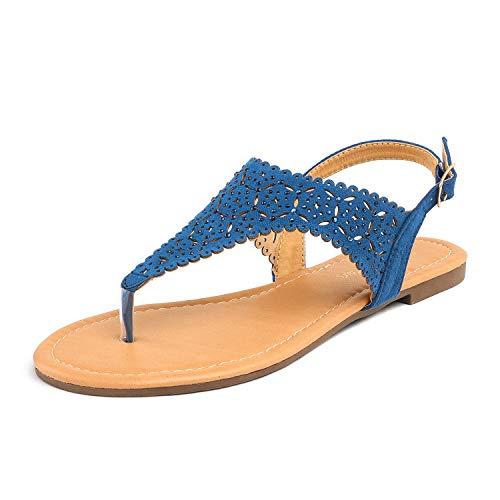 DREAM PAIRS MEDINIE Women Rhinestone Casual Wear Cut Out Flat Sandals Navy Size 8.5 ()