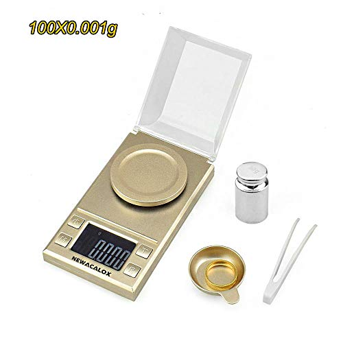 Digital Milligram Scale 100g x 0.001g, Electronic Weighing Scale for Jewelry Coins Reload and Kitchen, Mini LCD Pocket Lab Scale with Calibration Weights Tweezers and Plastic Pans,Gold