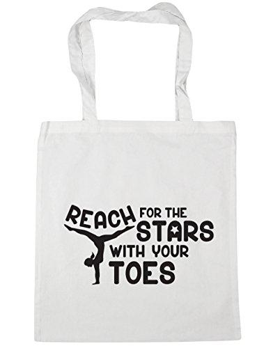 HippoWarehouse Alcance para las estrellas con los dedos gimnasia gimnasio playa bolsa de la compra bolsa 42cm x38cm, 10litros, rojo clásico (rojo) - 21429-TOTE-Classic Red blanco