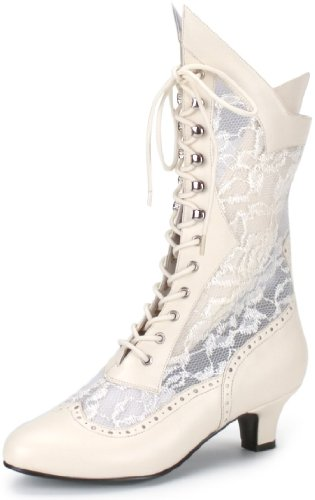 White Victorian Boots (Pleaser Shoes Lace Victorian Tall Boots Adult Ivory White 8)